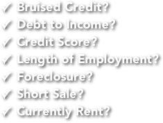 Bruised Credit? Debt to Income? Credit Score? Length of Employment? Foreclosure? Short Sale? Currently Rent?